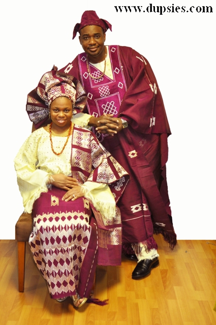 Burgundy and Cream African Attire for Couples in Aso Oke (Handwoven ...