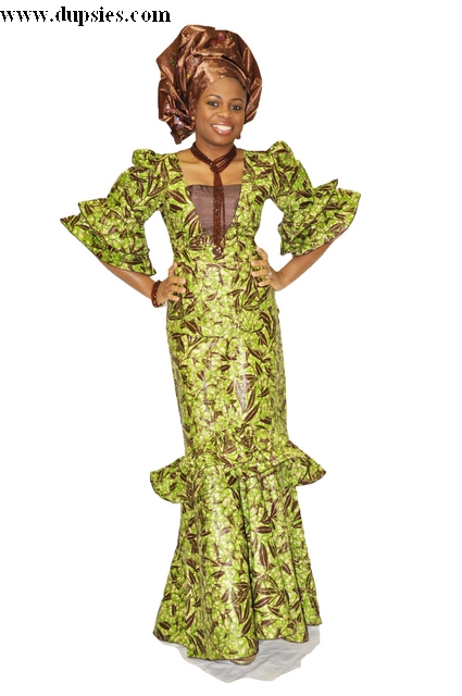 Green and Coffee Brown African Print Apparel for Women