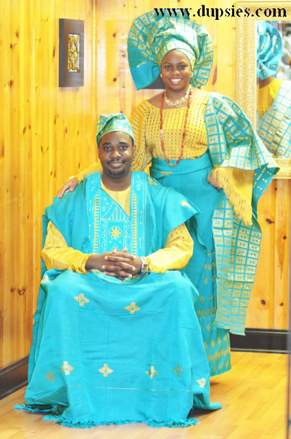 African Attire for Couples in Aso Oke (Handwoven Material)