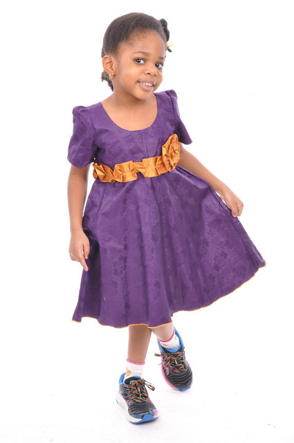 Purple African Brocade Dress with Gold Rosette-dpcso021g ...