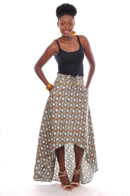 Aqua and Brown African Print High Waist High Low Skirt-dp3259hl ...