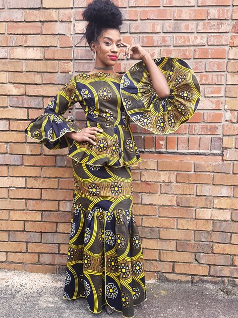 c32127c14eb1d African Print Top and Skirt with Flare Sleeves-DP3210TS Click to enlarge