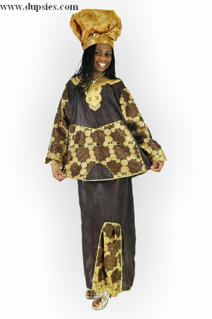 2pc Brown African Brocade and Lace Wrapper Set for Women