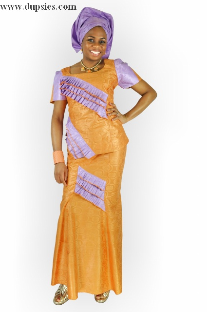 Lilac and Orange African Skirt Set - Dp2794 - - Lilac and ...
