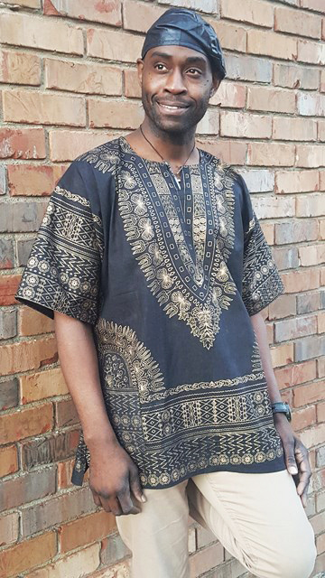 2bdd7f30747 Black and Gold Traditional African Print Dashiki Shirt-DP3764M Click to  enlarge