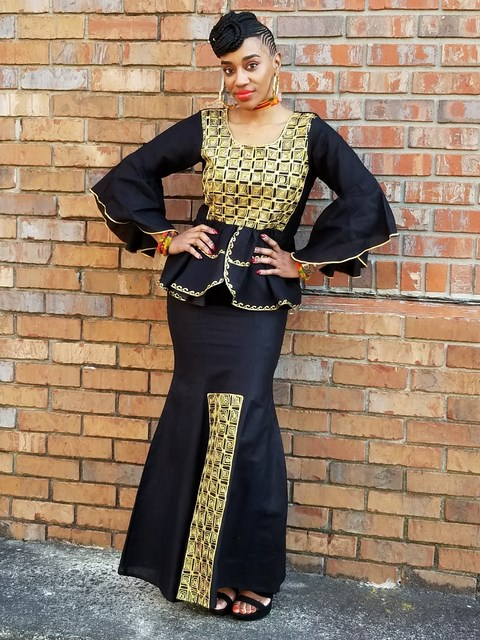82a5d679a008 ... Black Panther African Top and Skirt with Gold Embroidery-DP3939T ...