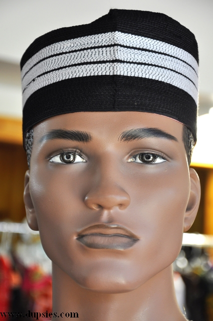 Black and off white african hausa hat cap kufi dph568 dph568 black and off white african hausa - Cap malo boutiques ...
