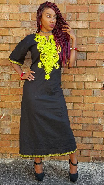 fe0e7c2e80 Black cotton dress with Yellow Embroidery-DP3782Y ...