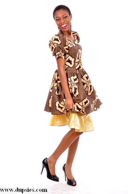 Brown African Print Dress - Dp2492 - African Clothing ...