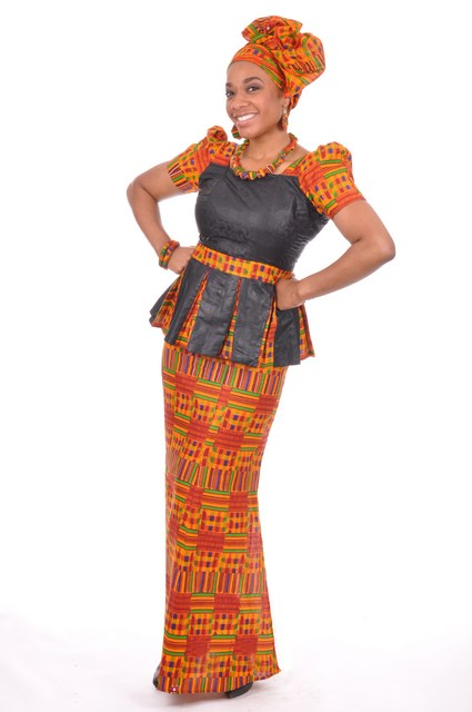 Kente Print Top and Skirt with Brocade Design-dp3227bp2 - Dp3227bp2 - African Print Skirt Set ...
