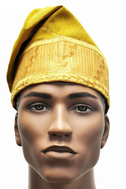 Gold Embroidered African Net Aso Oke Hat Kufi Cap - Dph490 - African ... 040b832dbbf