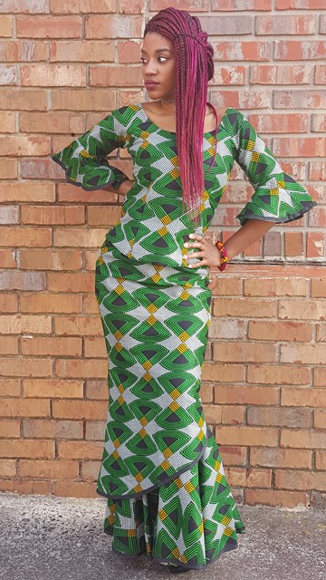 74704ea1e541 ... Exquisite Green Black Gold African Print Top and Skirt-DP3553 ...