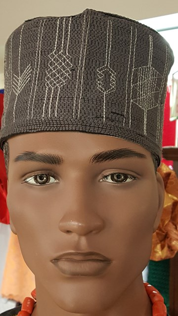 grey handwoven hausa hat kufi dph577 dph577 african hats caps kente sashes grey handwoven. Black Bedroom Furniture Sets. Home Design Ideas
