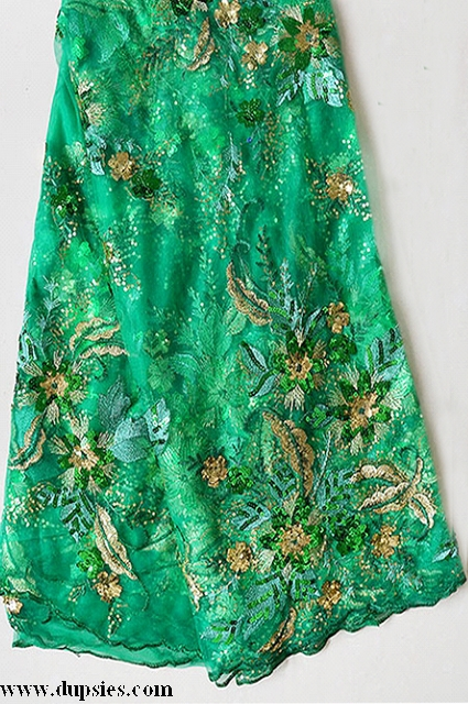 Nigerian Green and Gold African Fench Lace Fabric-DPL1014