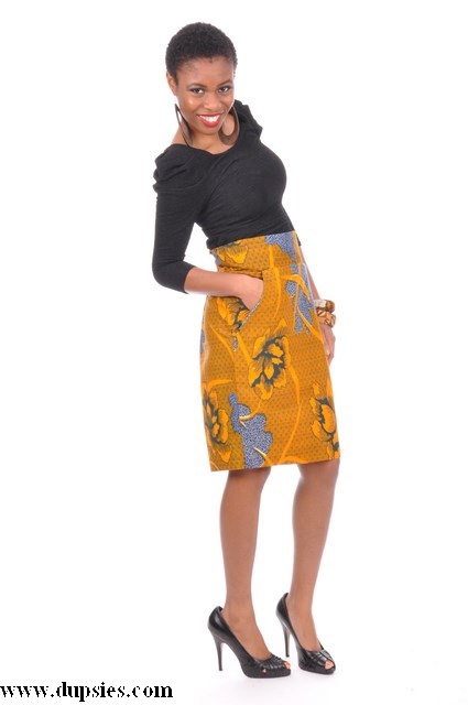 1f3f80d698 Orange and Blue African Print Pencil Skirt with Pockets-DP3212S Click to  enlarge