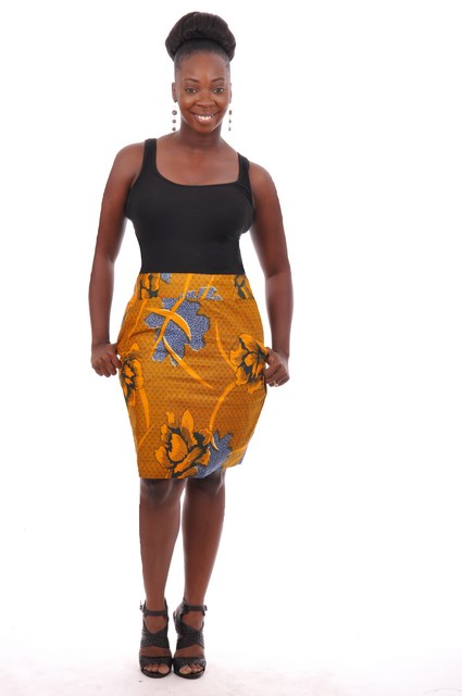 7b658bdd28 Orange and Blue African Print Pencil Skirt with Pockets-dp3212s ...