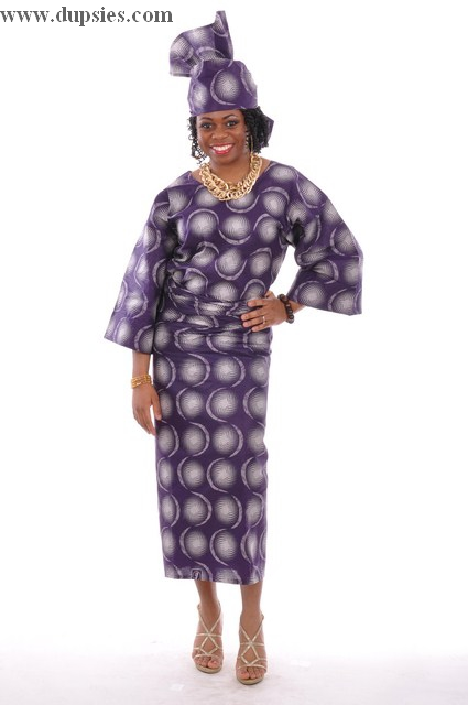 Purple African Print Top, Wrap-Skirt and headwrap-DP3029