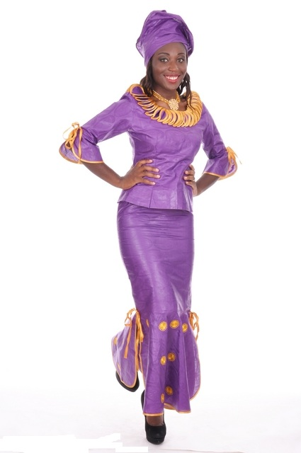 Royal-purple and Gold African Brocade Top and Skirt with ...