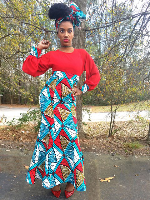 Red african print dresses