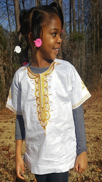 ec4deb8b883 Girls-Boys White Dashiki with Gold Embroidery-DPCS0021D Click to enlarge