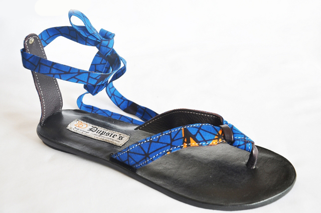 7a0ea639f57b Royal Blue African Print Leather Gladiator Tie-up Sandals-DPSD10 Click to  enlarge