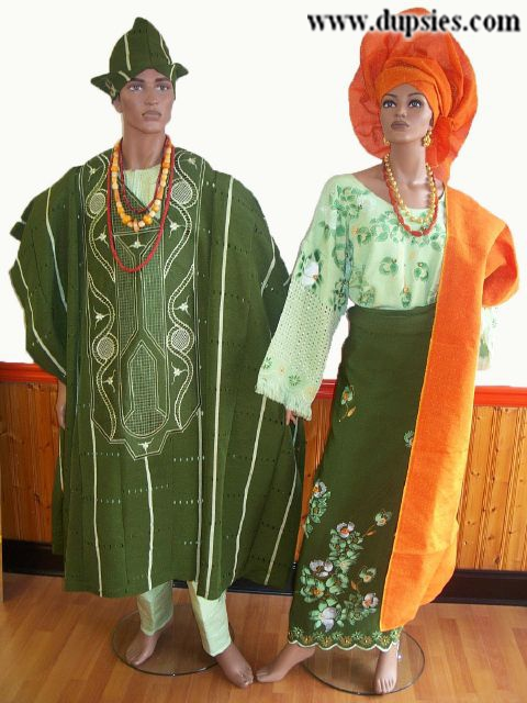 Green African Couples Aso-Oke (Handwoven Material) Attire