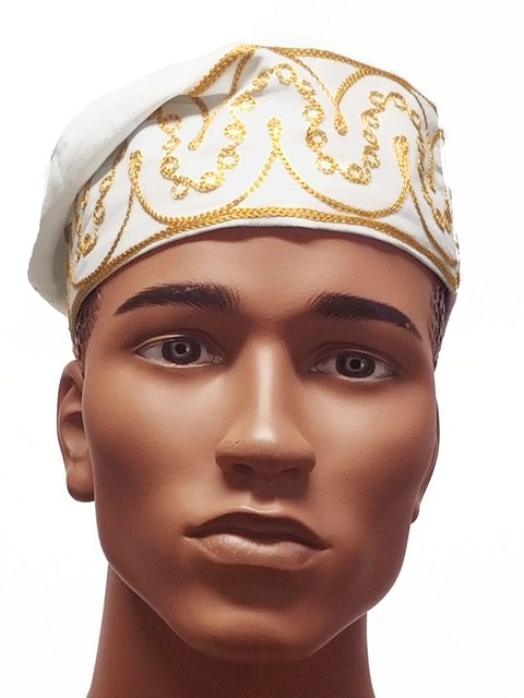 ad68bc9c4cb Off White African Cotton Kufi Hat with Gold Emboridery DPH3842 Click to  enlarge