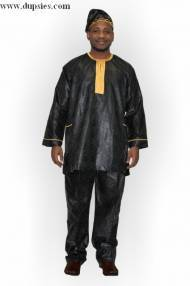 Black and Gold African Brocade Dashiki Pant Set-DPJD421