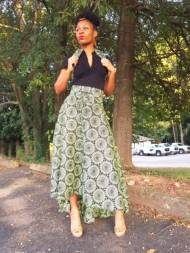 Green African Print High Low Skirt-DP3773HL