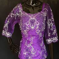 Purple and Silver African French Lace Top-DPS004TP