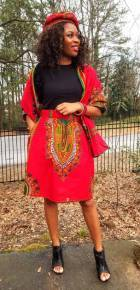Red Dashiki Print Skirt-DP3975SS