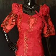 Red African French Lace with Gold Patterns-DPS007TP