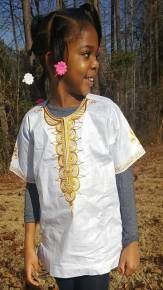 Girls-Boys White Dashiki with Gold Embroidery-DPCS0021D